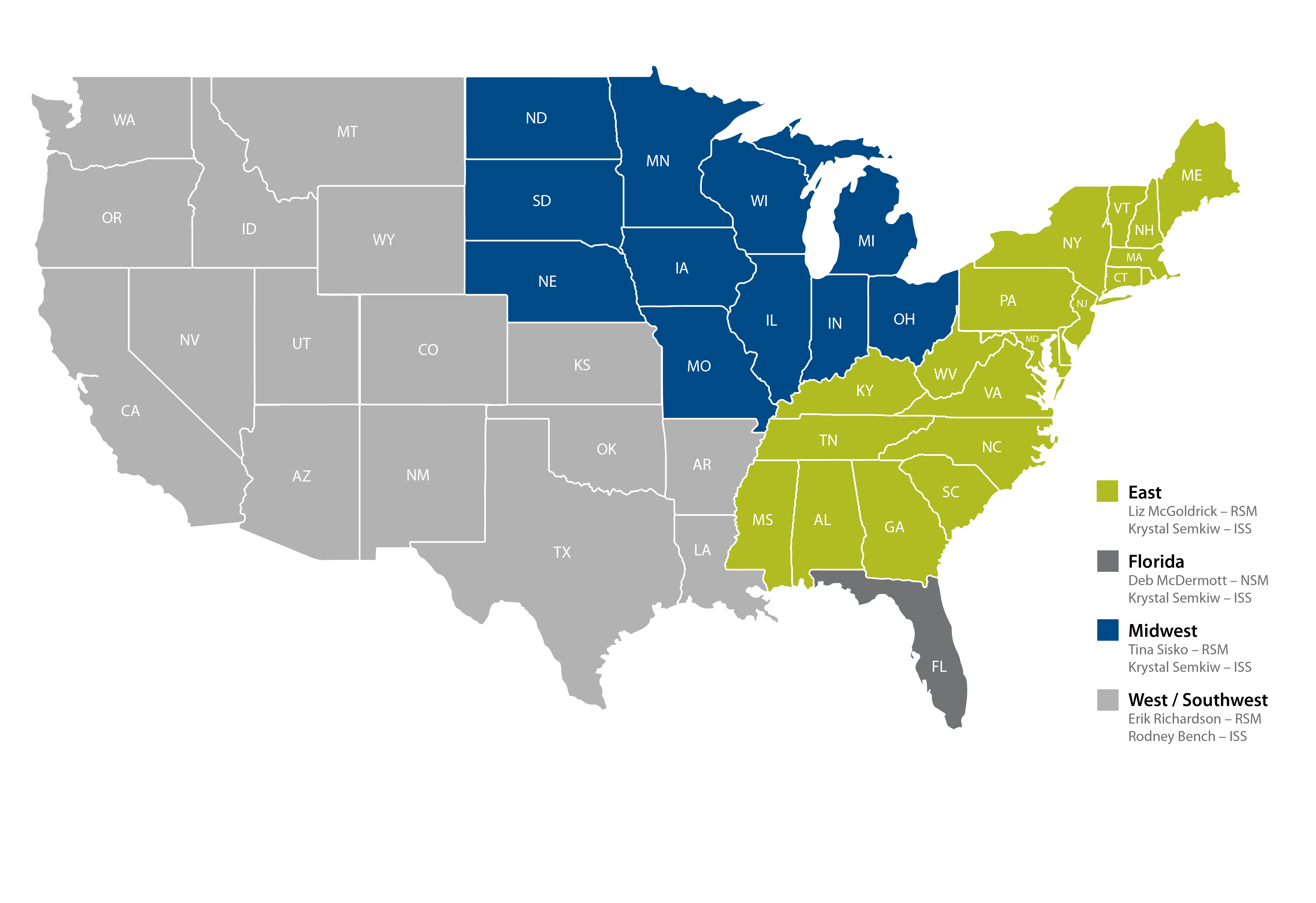 A map of the United States showing the regions covered by each sales representative.